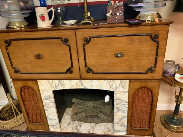 Mid Century Modern Fire Place Bar and Stereo