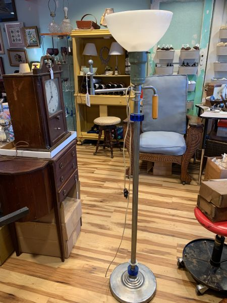 Art Deco Floor Lamp w/Bakelite & Cobalt Accents