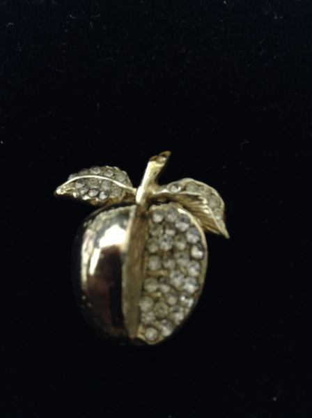 Goldtone Clear Rhinestone Apple Brooch