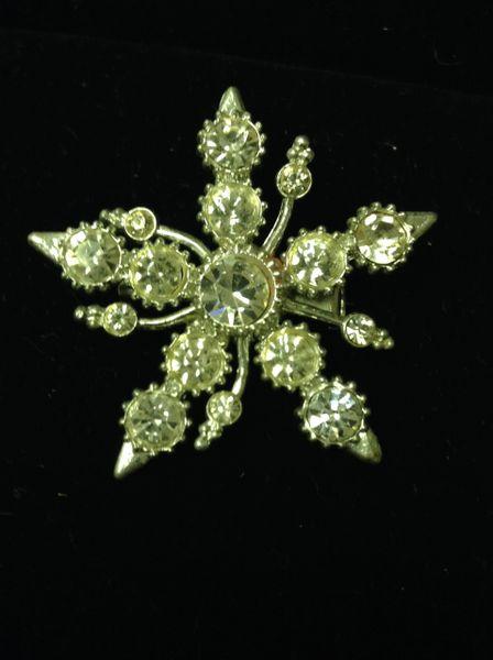 Rhinestone Snowflake Brooch