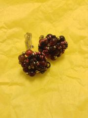 Beaded Cluster Clip on Earrings