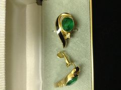 Vintage Christian Dior Faux Emerald & Enamel Clip on Earrings