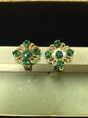 Vintage Faux Emerald Rhinestone Screwback Earrings