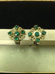 Vintage Faux Emerald Rhinestone Screwback Earrings