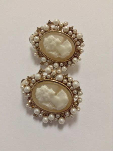 Tan Cameo with Faux Pearls Clip on Earrings