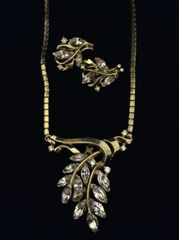 Vintage Signed Trifari Lavender and gold Necklace and Clip-on earrings set