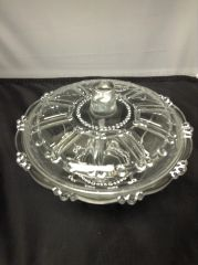 """Vintage KIG Clear Glass Beaded 7"""" Lidded Candy Dish/Covered Serving Bowl"""