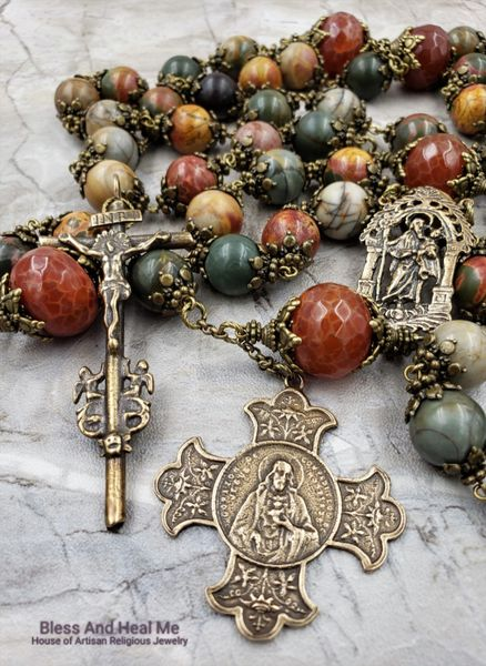 St Joseph Sacred Heart of Jesus Large Bronze Picasso Jasper Agate Ornate  Wall Display Rosary Happiness Stress Anxiety Protection Prosperity