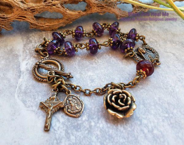 Virgin Mary Sacred Heart Amethyst Bronze Rosary Bracelet