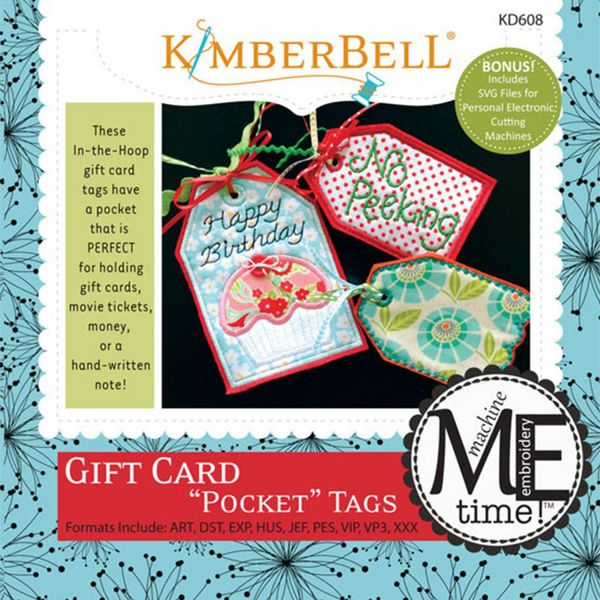 CD Gift Card Pocket Tags Machine Embroidery by Kimberbell Designs FREE UK  SHIPPING