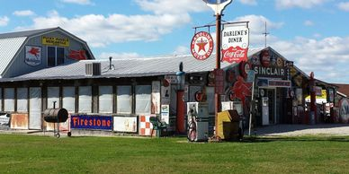 Gasoline Alley. Bobs garage, Route 66 Museum with collectables and 66 memorabilia  in Cuba, Missouri on Historic Route 66.