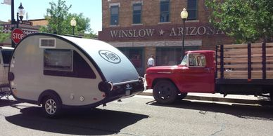 Travel trailer on the corner in Winslow, Arizona. This is a popular way for Route 66 travel.