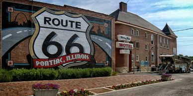 "Pontiac, Illinois has displays showcasing the history of ""Main Street America"" on Route 66 USA"