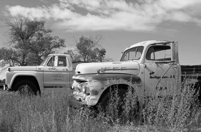 Old trucks on Highway 66 or Historic Route 66. Relics of Route 66 Transportation