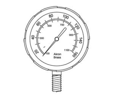 AKRON FK-352 Liquid Pressure Gauge - 0-160 psi