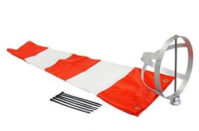 """Airport Windsock Corporation 8"""" X 36"""" Orange and White Windsock and 8"""" Aluminum Frame Combo USA Made"""