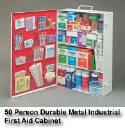 Radnor Four-Shelf 50 Person Durable Metal Industrial First Aid Cabinet