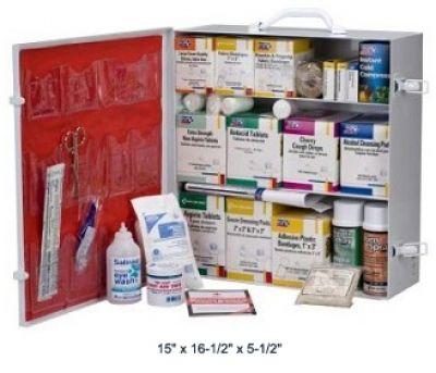 1096-Piece 3-Shelf Industrial Station (Metal Cabinet with 12 Pocket Vinyl Liner)