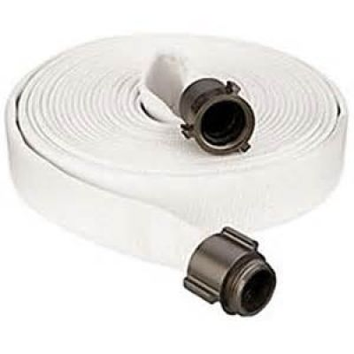 "Fire Hose 1.5 x 100"" Single Jacket Made U.S.A. White"