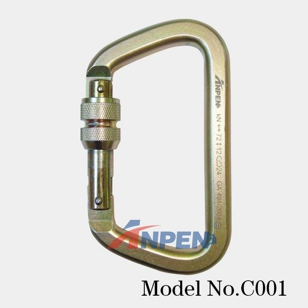 C001 Manual Locking D-shaped Steel Caribiner