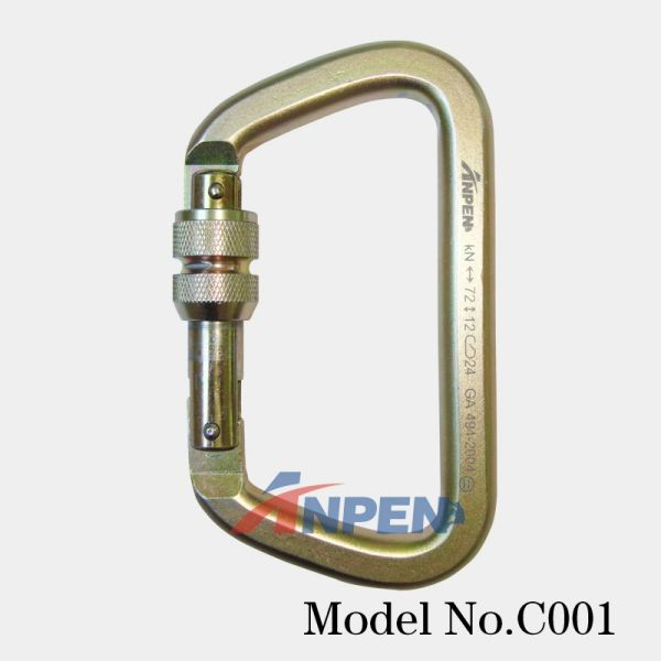 Anpen C001 Manual Locking D-shaped steel Carabiner