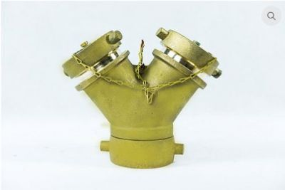 """Siamese Wye 2.5"""" NH Inlet x (2) 1.5"""" NH Outlet Brass"""