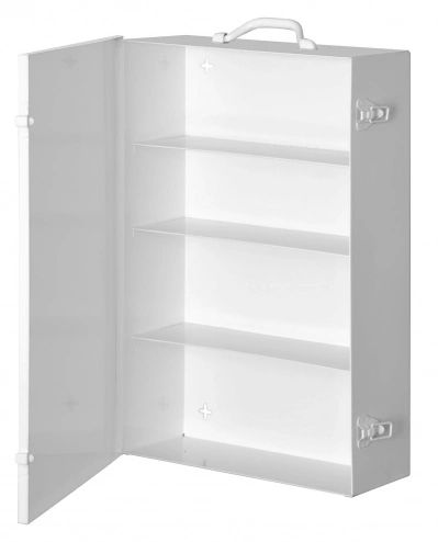 "White Cold-Rolled Steel 11FX Industrial Empty First Aid Cabinet, 15"" Width x 22"" Height x 5-9/16"" Depth, 4 Shelves"