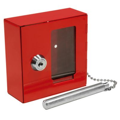 Compact Emergency Key Box w/ Attached Hammer and Key in Red