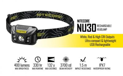 Nitecore NU30 400 Lumen White and Red LED Rechargeable Headlamp with Reinforced Bracket, USB Cable and Lumen Tactical Power Adapter
