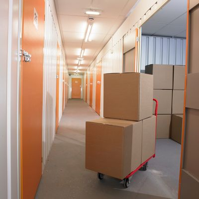 Boxes in a self storage room