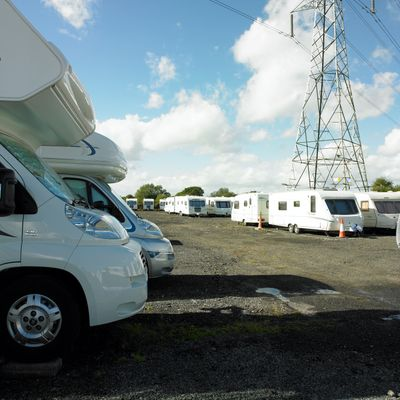Caravans in a parking lot