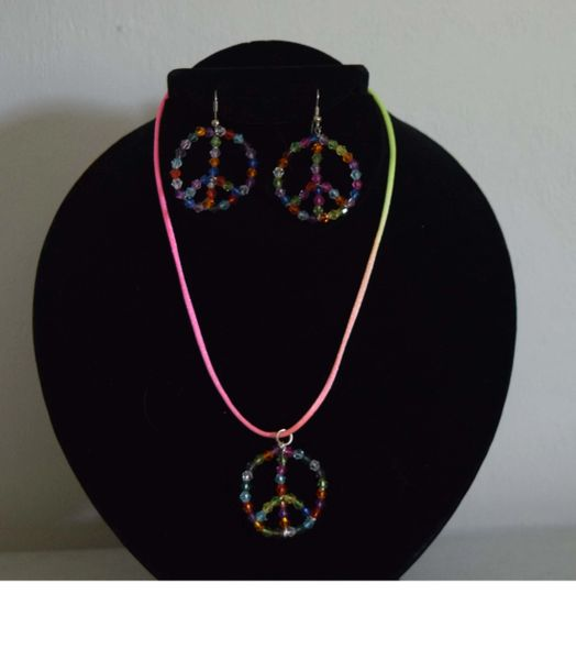Peace Necklace and Earrings set
