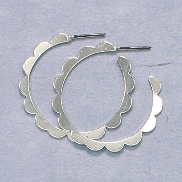Flower Silver Hoops