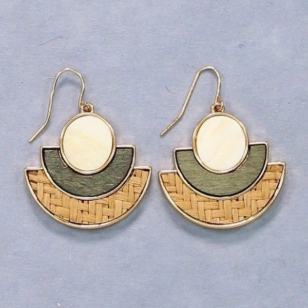 Mother of pearl, raffia, and wooden inlay earrings