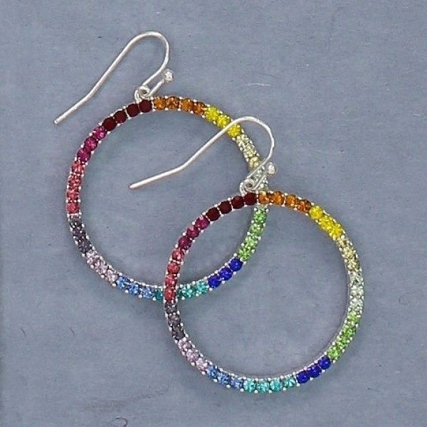 Rainbow pave circle earrings