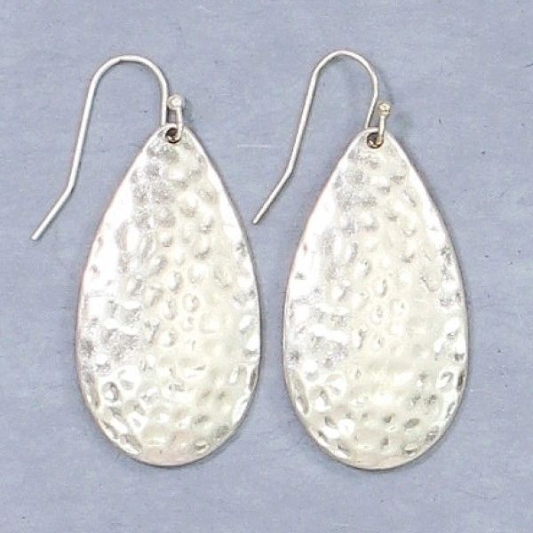 Hammered silver teardrops