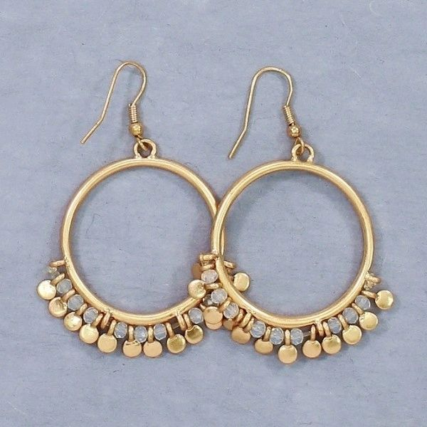 Circle earrings with crystal beads and metal discs