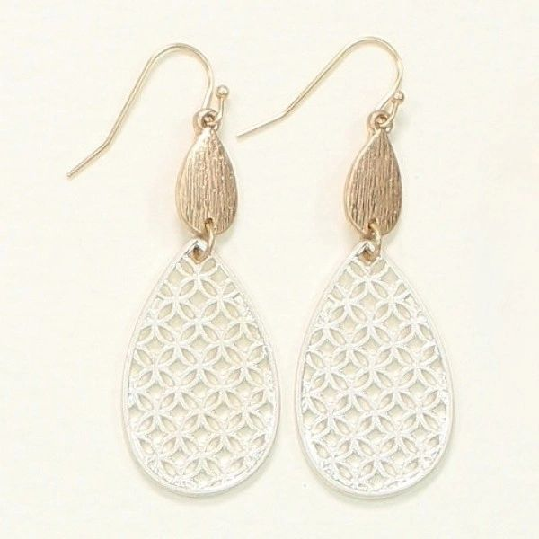 Filigree drops with silver and gold