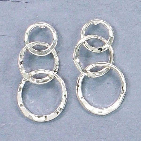 Delicate silver 3 circle drops