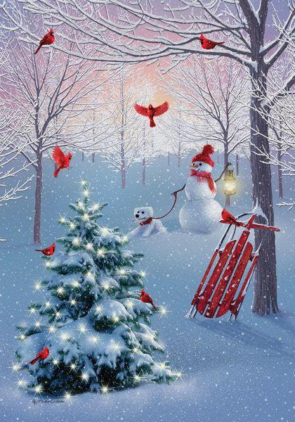 Cardinal Tree Snowman