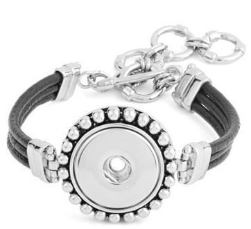 Black Leather Bumpy Bracelet