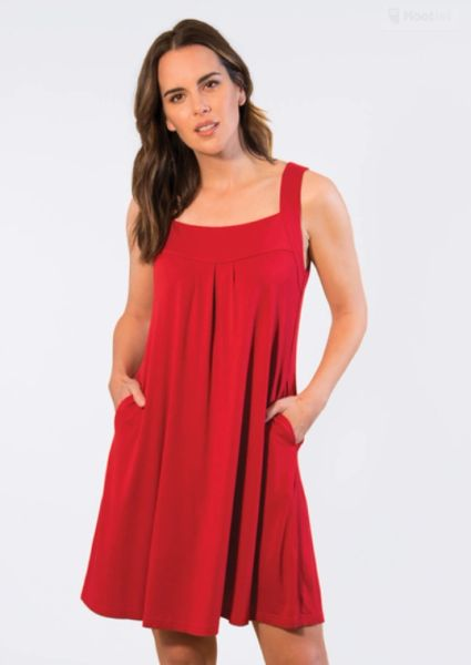 Square Neck Knit Dress - Red or Navy