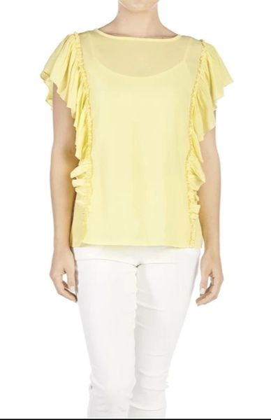 Shoulder Ruffle Tee-Yellow
