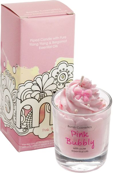 Pink Bubbly Piped Candle