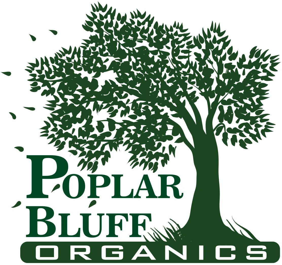 The farm's dark green logo of a poplar tree blowing in the wind.