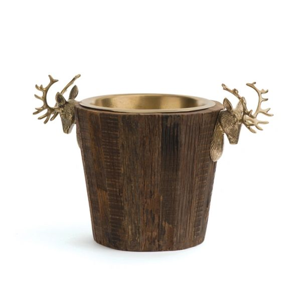 Stag Wine Bucket Cooler in Brass