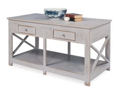 French Kitchen Island in Grey & Whitewash