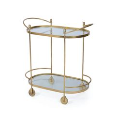Oval Bar Cart Cocktails w/ Solid Brass