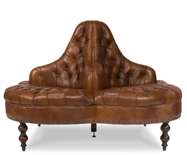 Lobby Sofa in Vintage Brown Tufted Leather