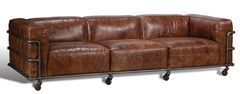Modern Couch Sofa Leather w/ Iron Cage Base